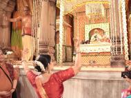 """Radharamanji gives darshan in """"Pushpa Vrishti Kunj"""""""